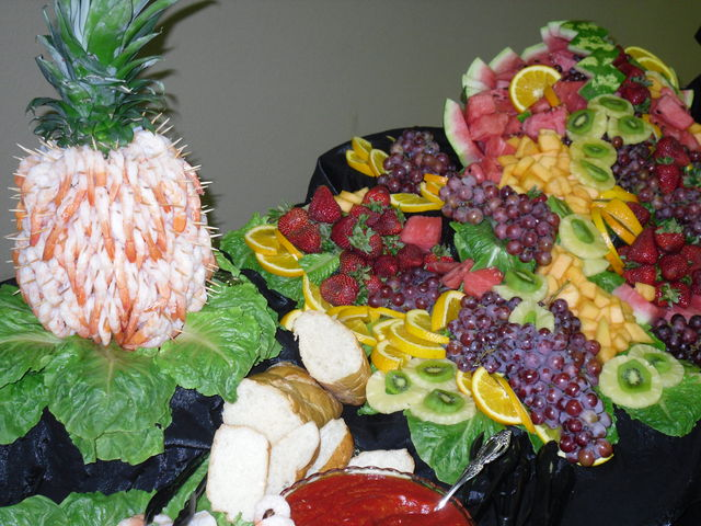 Garden District shrimp and fruit - Orange catering - Golden Triangle catering