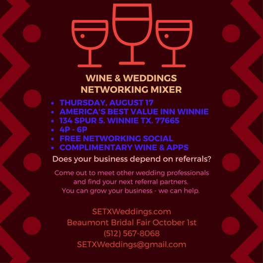 networking event Winnie TX, networking Winnie TX, SETX networking events, wedding vendor mixer Winnie TX, wedding professional vendor Winnie TX, marketing Southeast Texas, referral marketing Southesat Texas, referral group Southeast Texas, referral event Beaumont TX, referral group Beaumont TX