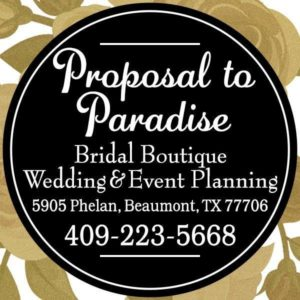 Proposal to Paradise Beaumont TX, bridal gallery Beaumont TX, bridal gallery Southeast Texas, SETX bridal gallery, wedding dress Beaumont TX, wedding gown Beaumont TX, SETX wedding dress